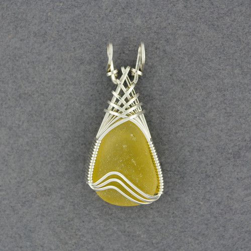 Sterling Silver Yellow Sea Glass Weave Pendant