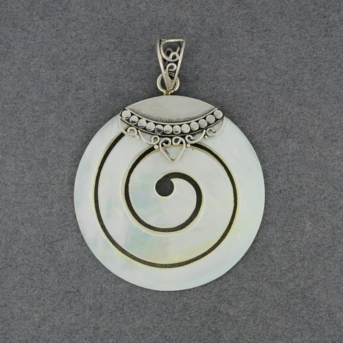 Mother of Pearl Ornate Spiral Pendant