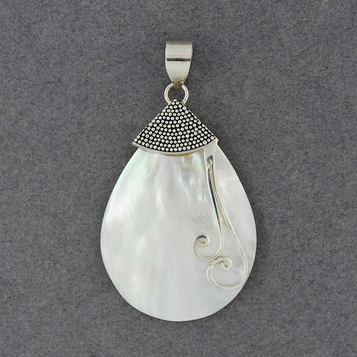 Mother of Pearl Teardrop with Dots and Swirls Pendant