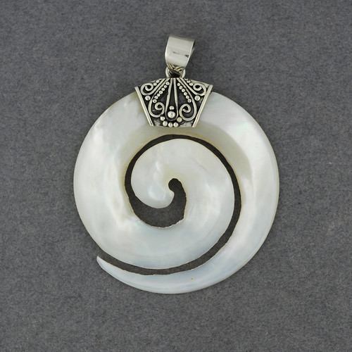 Mother of Pearl Curved Spiral Pendant