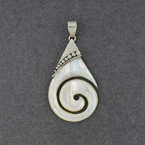 Mother of Pearl Teardrop Spiral with Dots Pendant