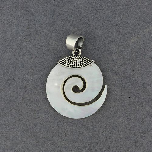 Mother of Pearl Small Spiral Pendant