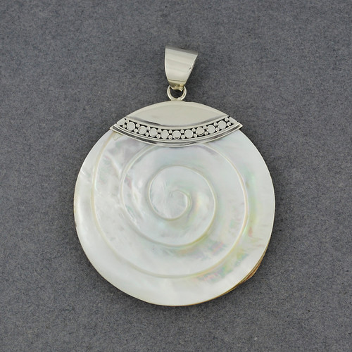 Mother of Pearl Carved Spiral with Dots Pendant