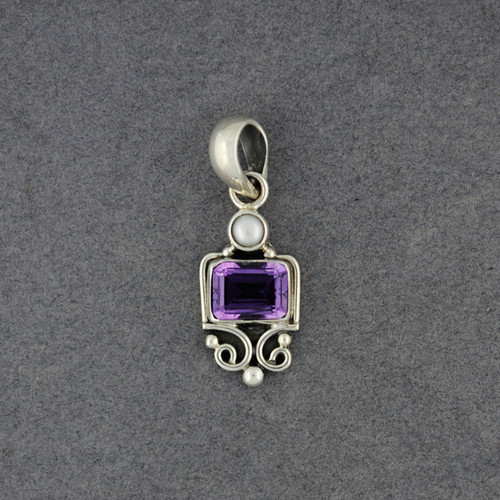 Amethyst and Pearl Pendant