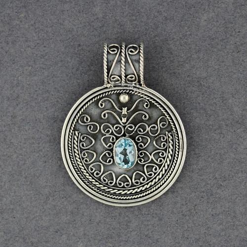 Blue Topaz Ornate Circle Pendant