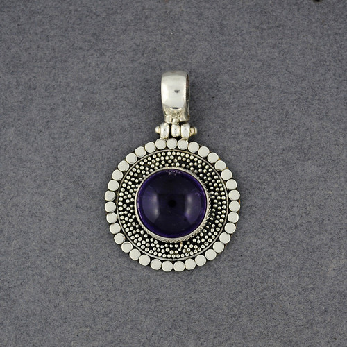 Amethyst Dotted Circle Pendant