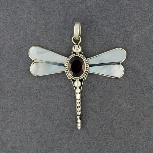 Mother of Pearl & Garnet Dragonfly Pendant