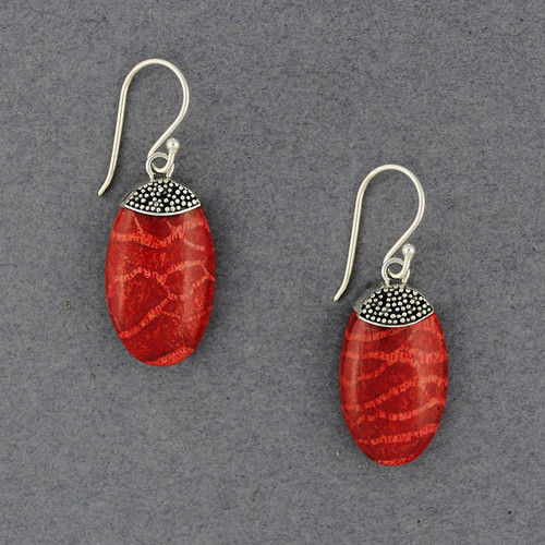 Coral Oval with Mini Dots Earrings