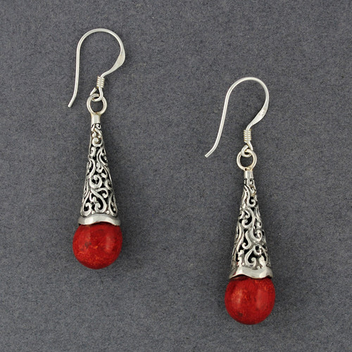 Coral Long Ornate Dangle Earrings