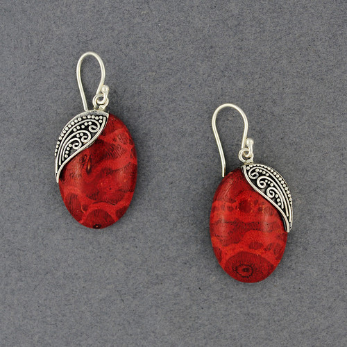 Coral Oval with Dots and Swirls Earrings