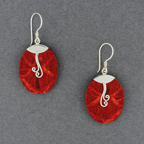 Coral Oval with Swirls Earrings