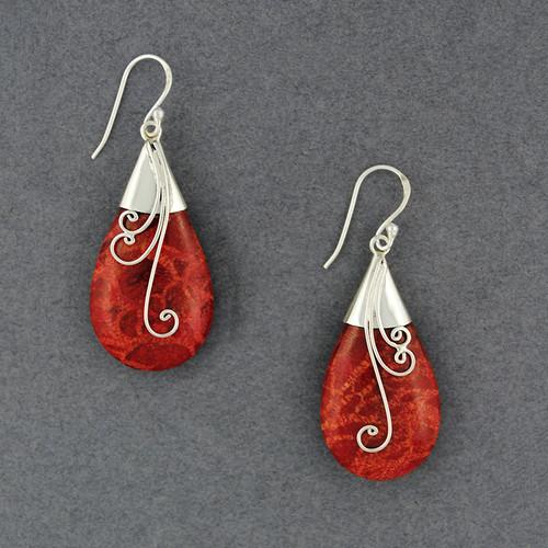 Coral Teardrop with Swirls Earrings