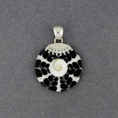 Black and White Mosaic Shiva's Eye Pendant