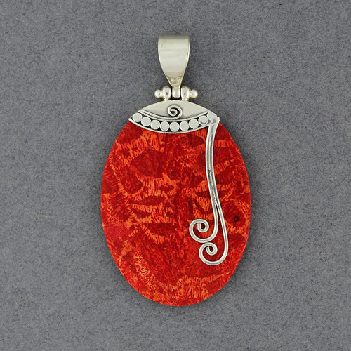 Coral Oval with Swirls Pendant