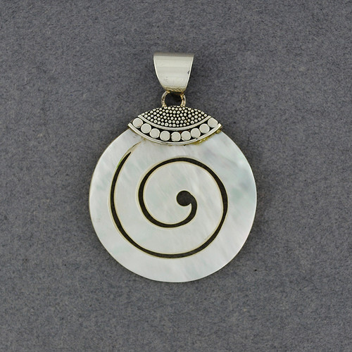 Mother of Pearl Multi Dot Spiral Pendant