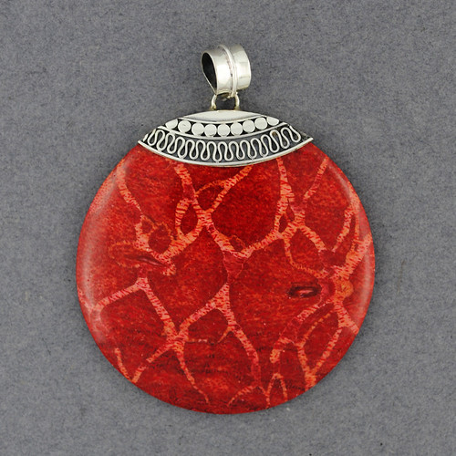 Coral Dots and Wave Pendant
