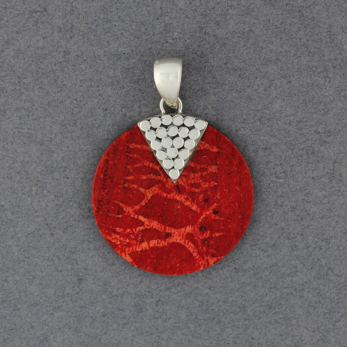 Coral Small Dotted Disc Pendant