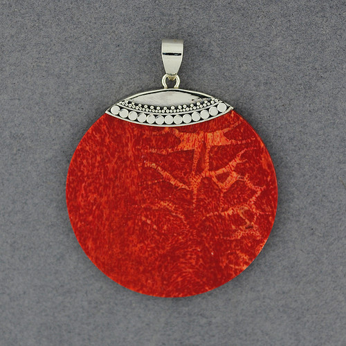 Coral Dotted Disc Pendant