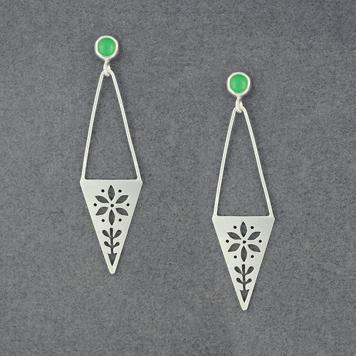 Triangle Flower Earrings with Stone