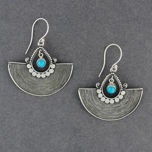 Turquoise Ornate Fan Earrings