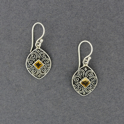Citrine Diamond Drop Earrings