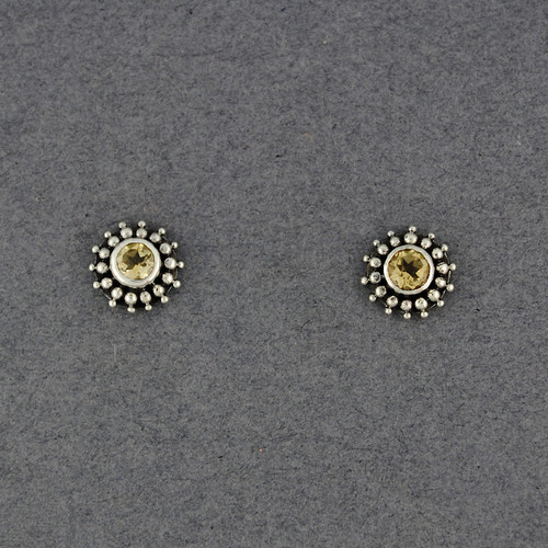Citrine Dotted Post Earrings