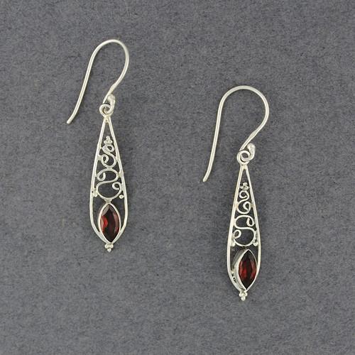 Garnet Long Drop Earrings