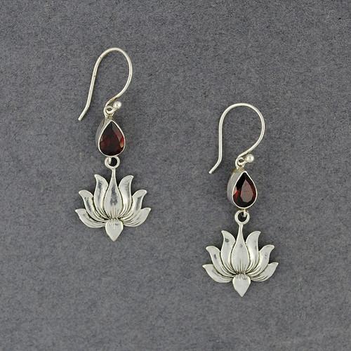 Garnet and Lotus Earrings