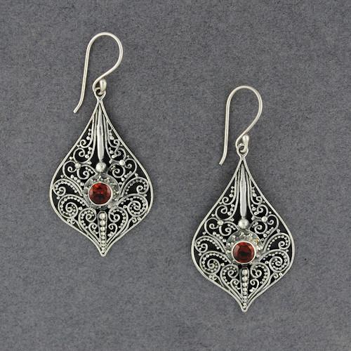 Garnet Ornate Dangle Earrings
