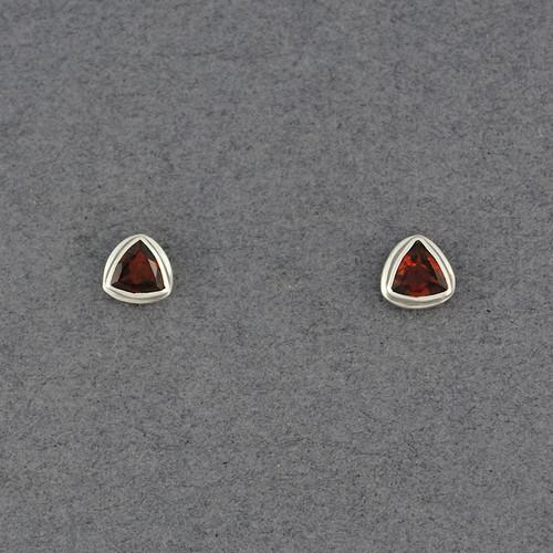 Garnet Triangle Post Earrings