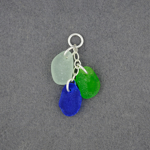 Sterling Silver 3 Drop Sea Glass Pendant