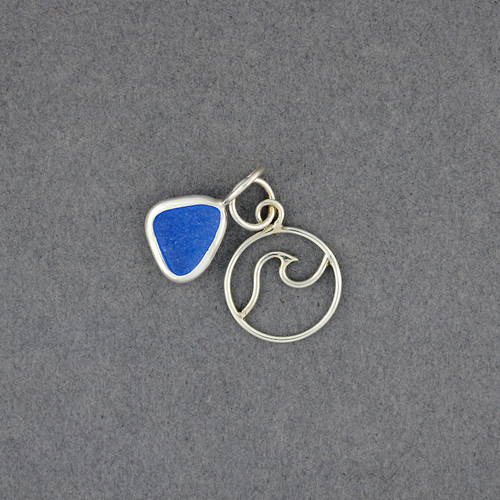 Sterling Silver Wave and Sea Glass Pendant