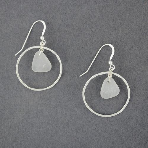 Sterling Silver Hammered Hoop Sea Glass Earrings