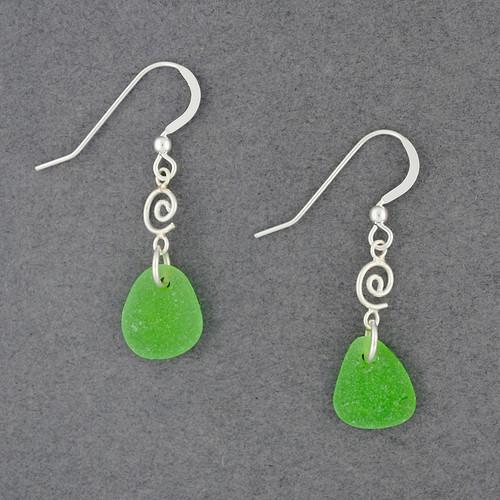 Sterling Silver Small Swirl Sea Glass Earrings