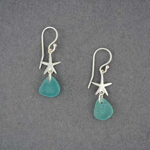 Sterling Silver Starfish Sea Glass Earrings