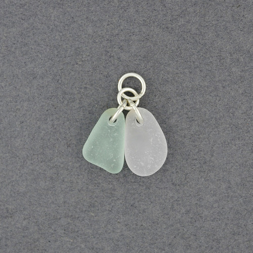 Sterling Silver Double Drop Sea Glass Pendant