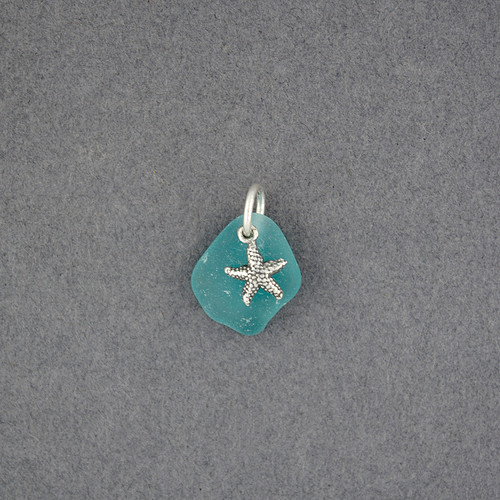 Sterling Silver Starfish Charm Sea Glass Pendant