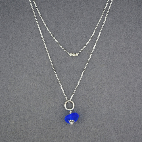 Sterling Silver Layers of the Sea - Sea Glass Necklace