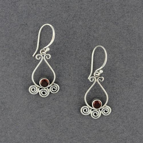 Garnet Teardrop and Spirals Earrings
