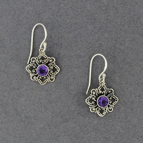 Amethyst Stylized Flower Earrings