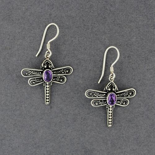 Amethyst Dragonfly Earrings