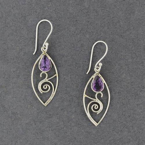 Amethyst Spiral in Drop Earrings