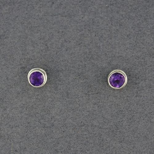 Amethyst Round Post Earrings