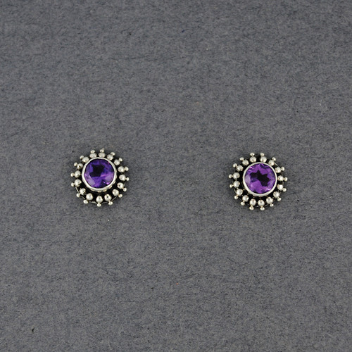Amethyst Dotted Post Earrings