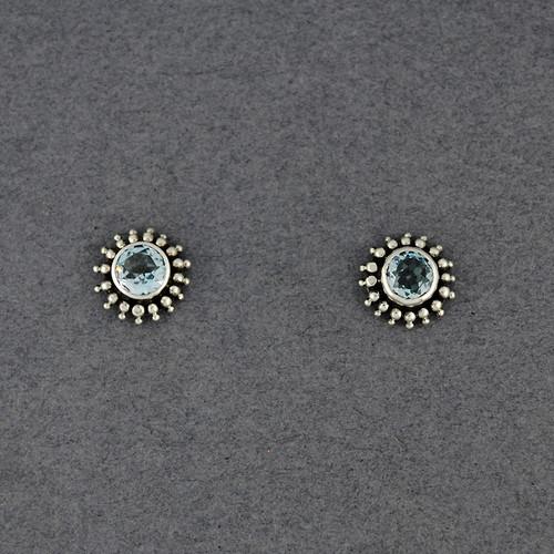 Blue Topaz Dotted Post Earrings