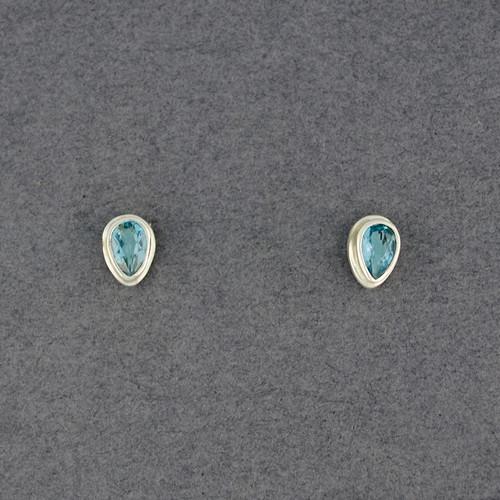 Blue Topaz Teardrop Post Earrings