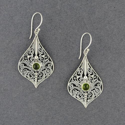 Peridot Ornate Drop Earrings