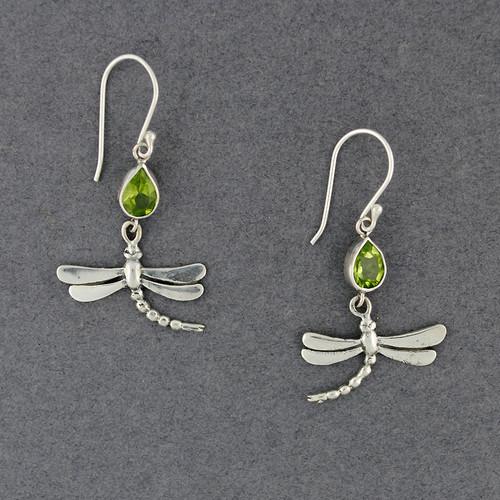 Peridot Dragonfly Earrings
