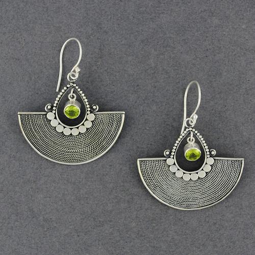 Peridot Ornate Fan Earrings