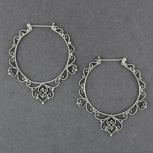 Sterling Silver Large Ornate Hoop Earrings